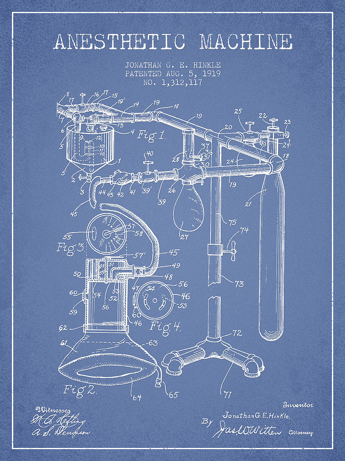 Anesthetic Digital Art - Anesthetic Machine Patent From 1919 - Light Blue by Aged Pixel