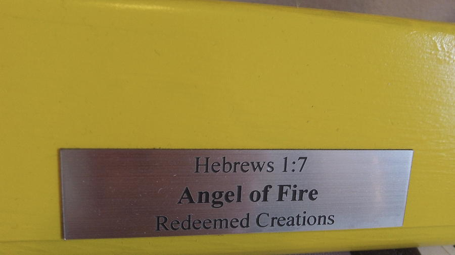 Angel Glass Art - Angel 0f Fire 3 by Daryl Lee