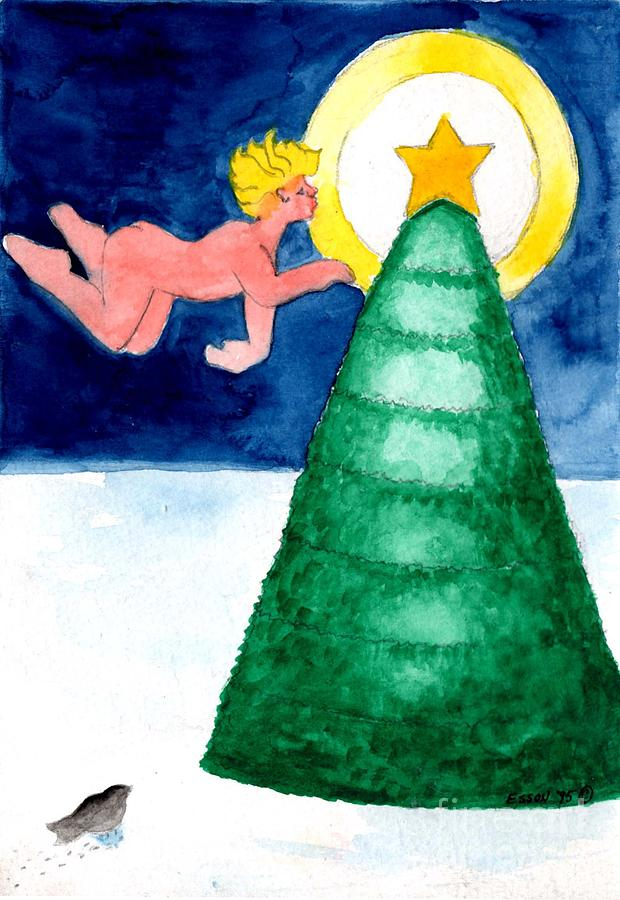 Angel Painting - Angel And Christmas Tree by Genevieve Esson