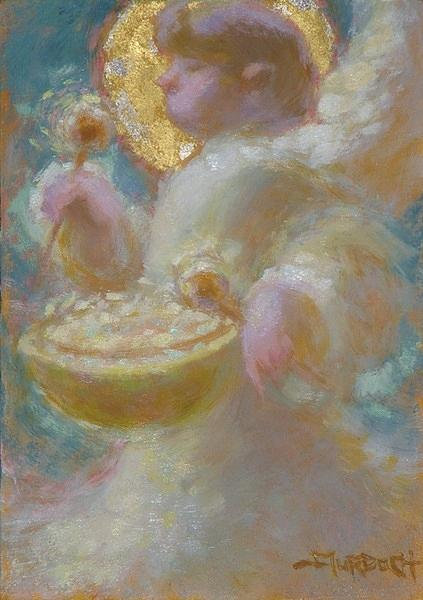 Angel Painting - Angel and drum by John Murdoch