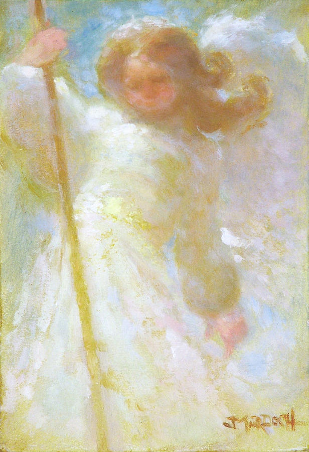 Angel Painting - Angel and staff by John Murdoch