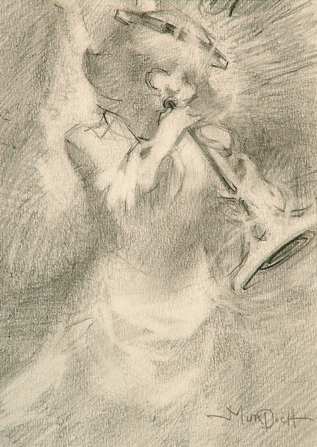 Pencil Painting - Angel and Trumpet by John Murdoch