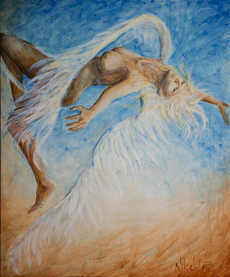 Angel Painting - Angel Blu Drifter by Nik Helbig