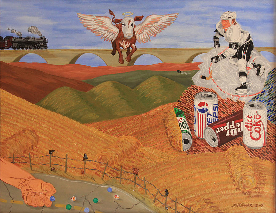 Hay Bales Painting - Angel Cow by Mike Nahorniak