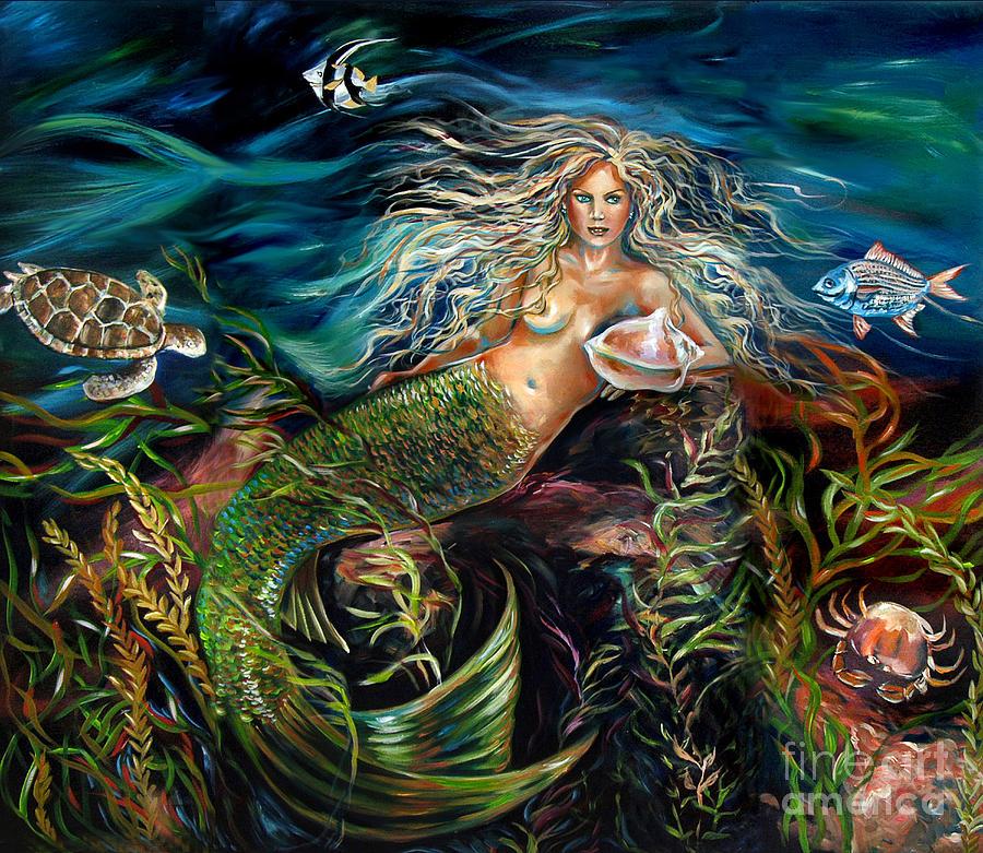 Mermaid Painting - Angel Eyes by Linda Olsen