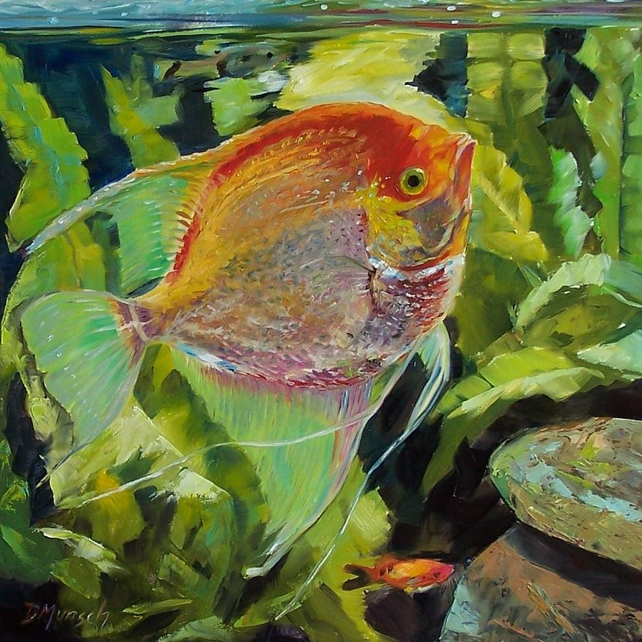 Fish Painting - Angel Fish by Donna Munsch