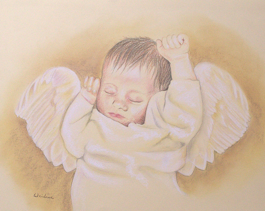 Angel Drawing - Angel by Kathy Weidner