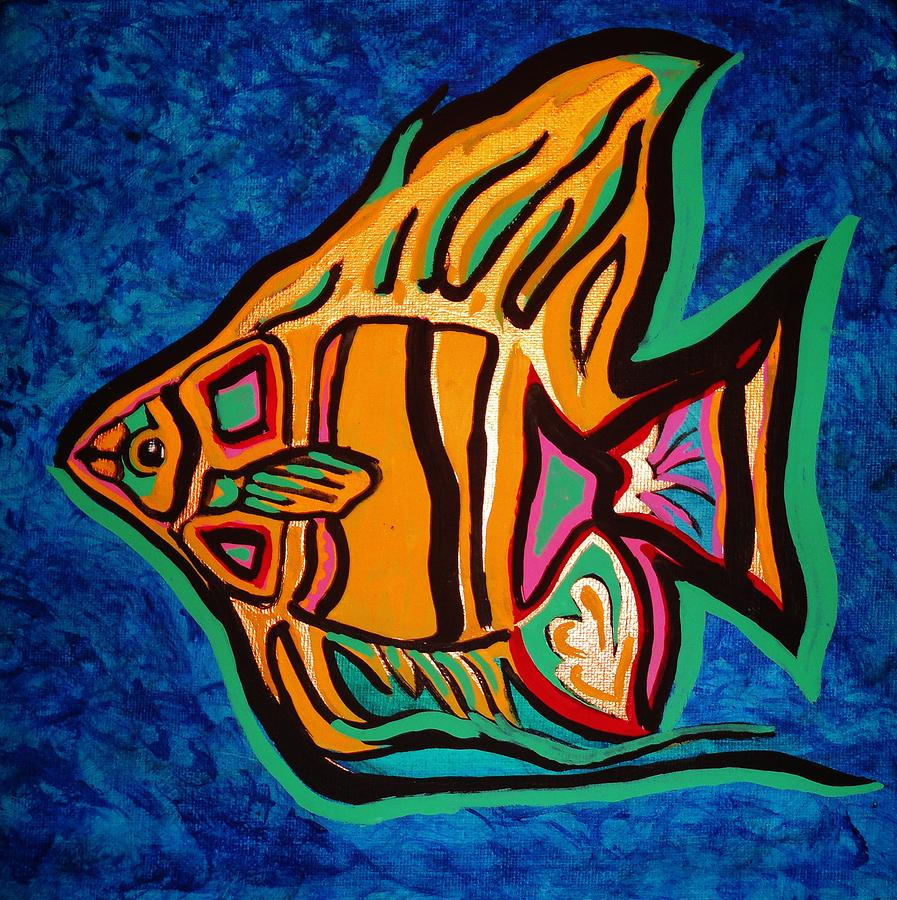 Angel Fish Painting - Angel by Michael Henzel