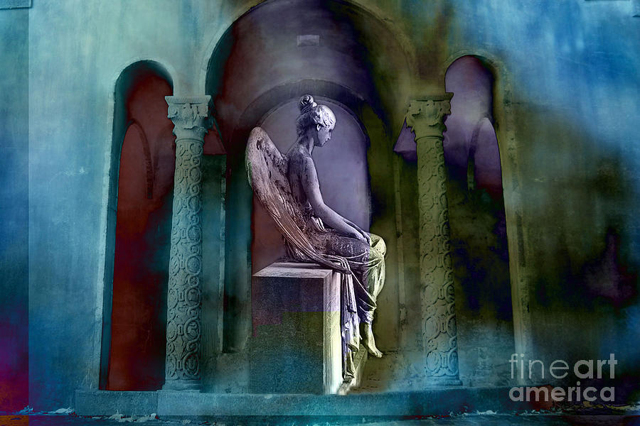 Sad Angel Photograph - Angel Mourning Sadness - Haunting Fantasy Surreal Angel Art Teal Aqua Purple  by Kathy Fornal