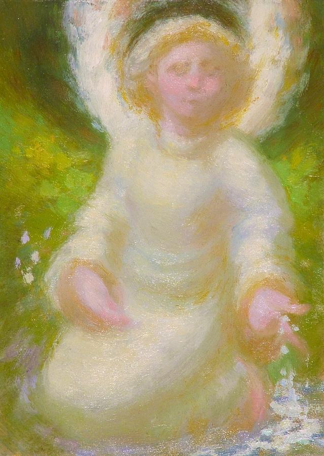 Angel Painting - Angel near stream by John Murdoch
