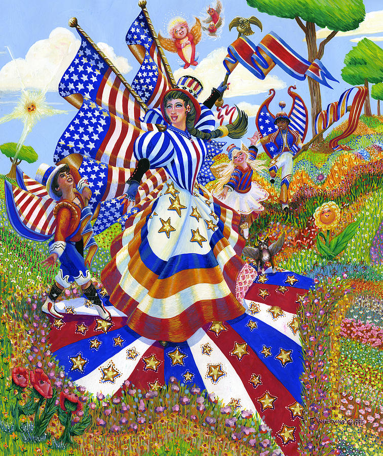 Angel Painting - Angel Of American Patriotism by Jacquelin Vanderwood