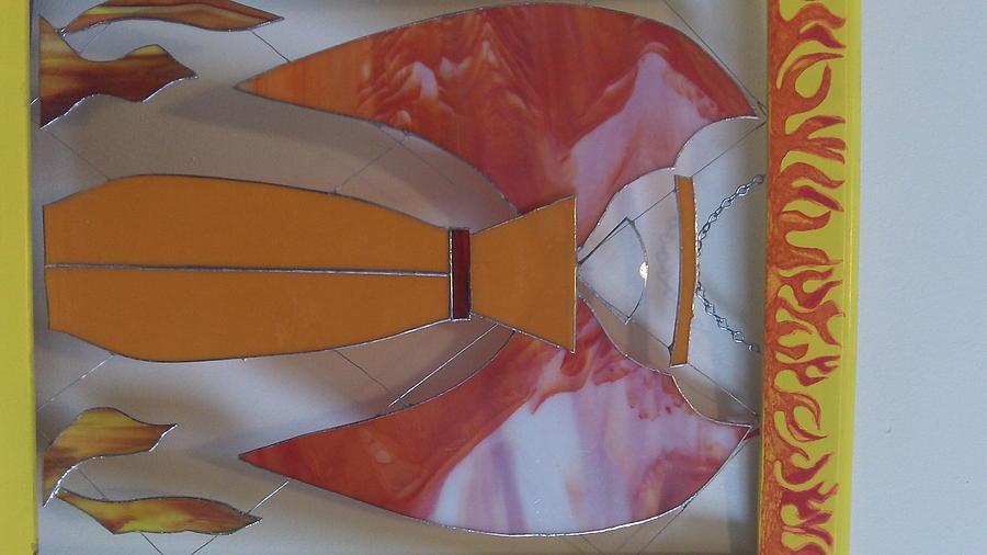 Angel Glass Art - Angel Of Fire 2 by Daryl Lee