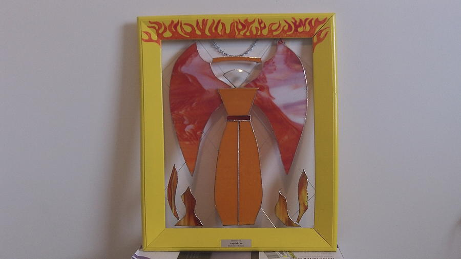 Angel Glass Art - Angel Of Fire by Daryl Lee