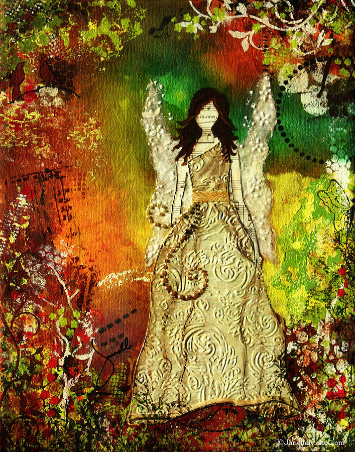 Angel Mixed Media - Angel Of Light Christian Inspirational Mixed Media Artwork Of Angel by Janelle Nichol