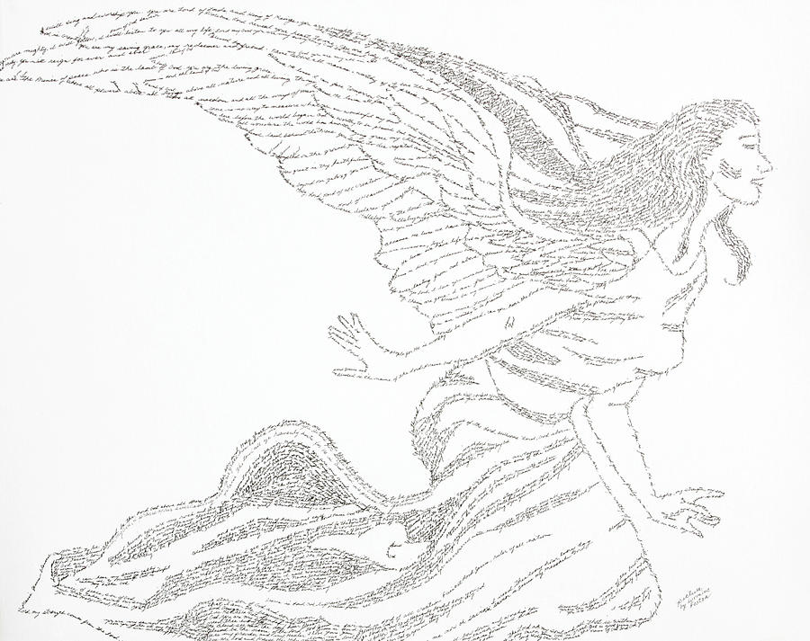 Angel Drawing - Angel Of Love by Lorraine Foster