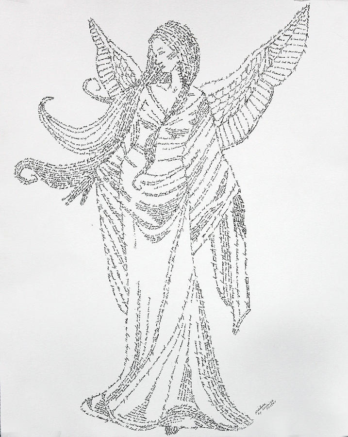 Angel Drawing - Angel Of Peace by Lorraine Foster
