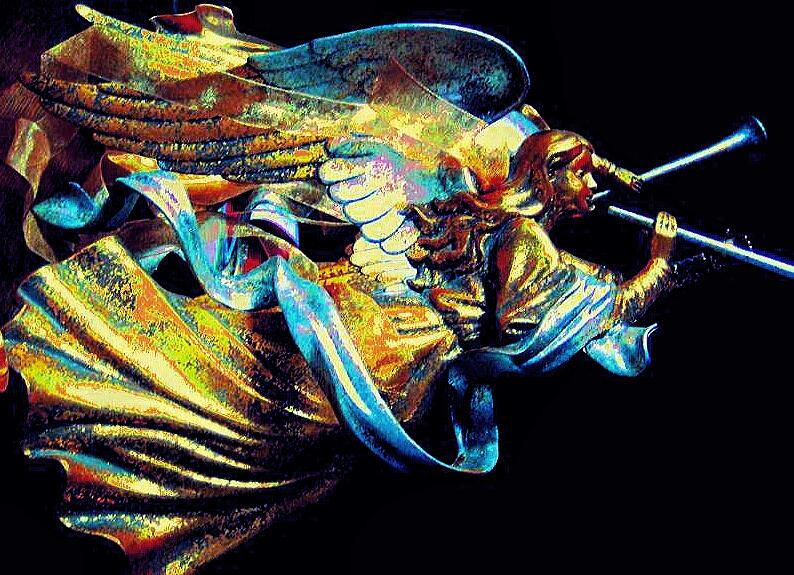 Golden Angel Digital Art - Angel Herald by Pamela Smale Williams