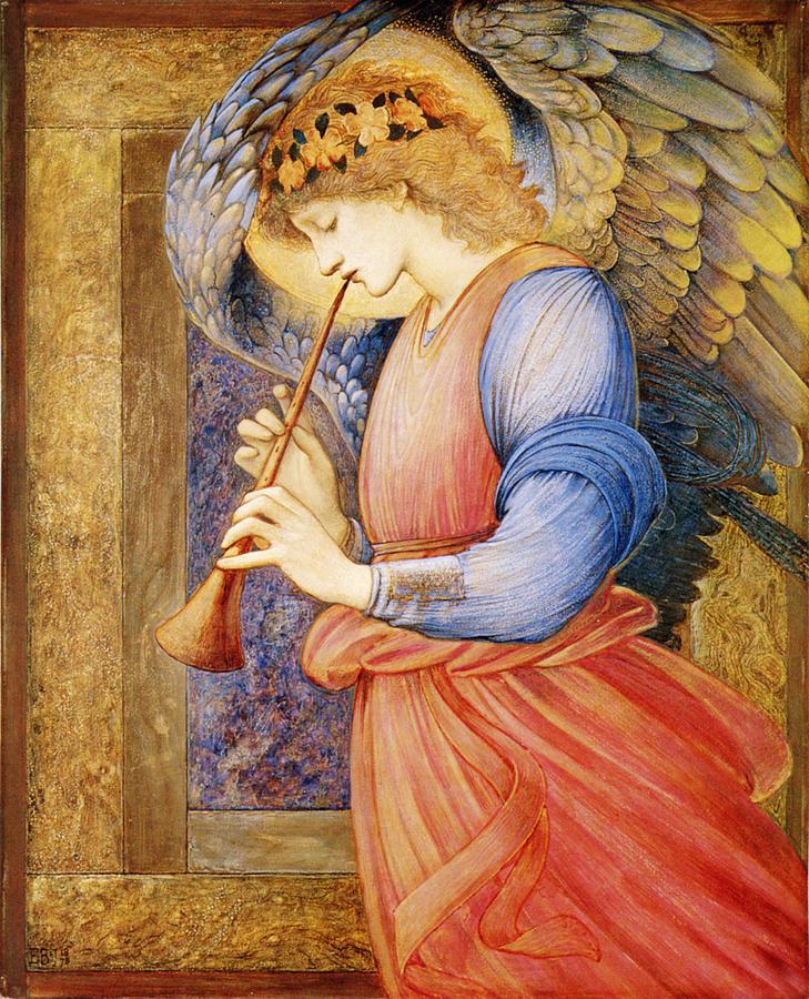 Edward Burne Jones Digital Art - Angel Playing A Flageolet by Edward Burne Jones