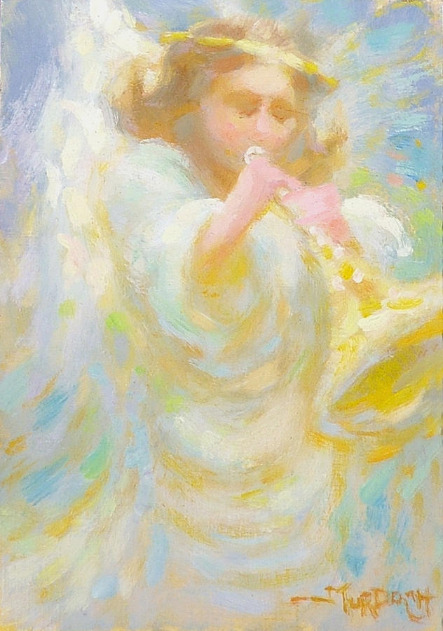Angel Painting - Angel Playing Lovesong by John Murdoch