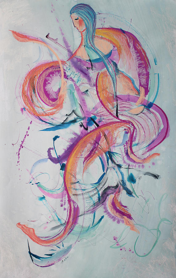 Ink Painting - Angel Playing Music by Asha Carolyn Young
