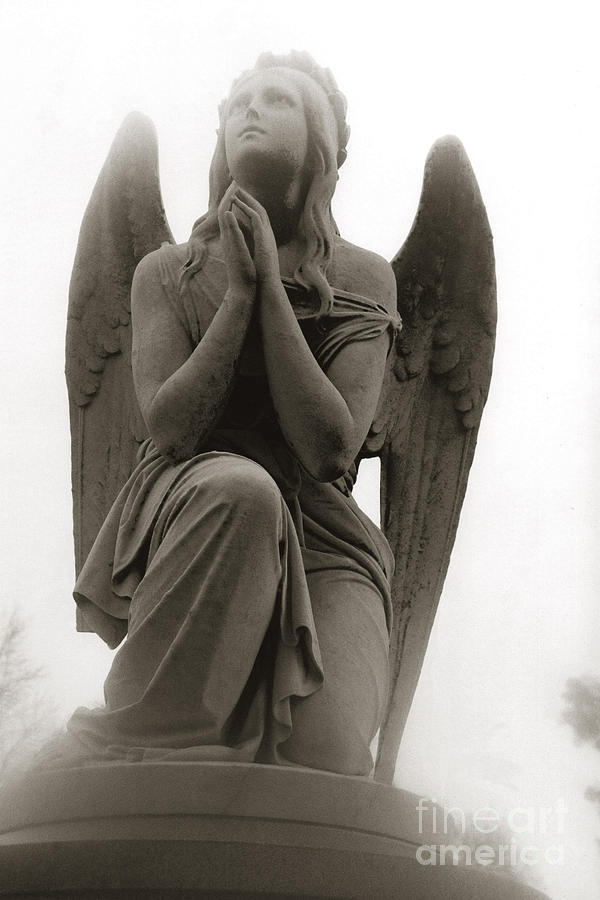 Angel Praying - Beautiful Dreamy Angel In Prayer - Praying Angel Looking To Heaven Photograph by Kathy Fornal