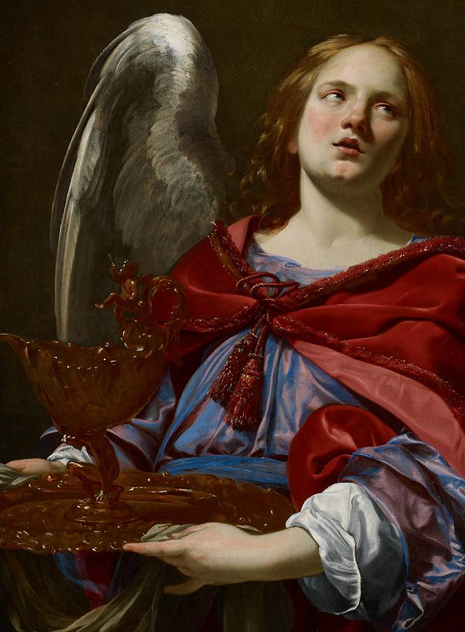 Angel Painting - Angel With Attributes Of The Passion by Simon Vouet