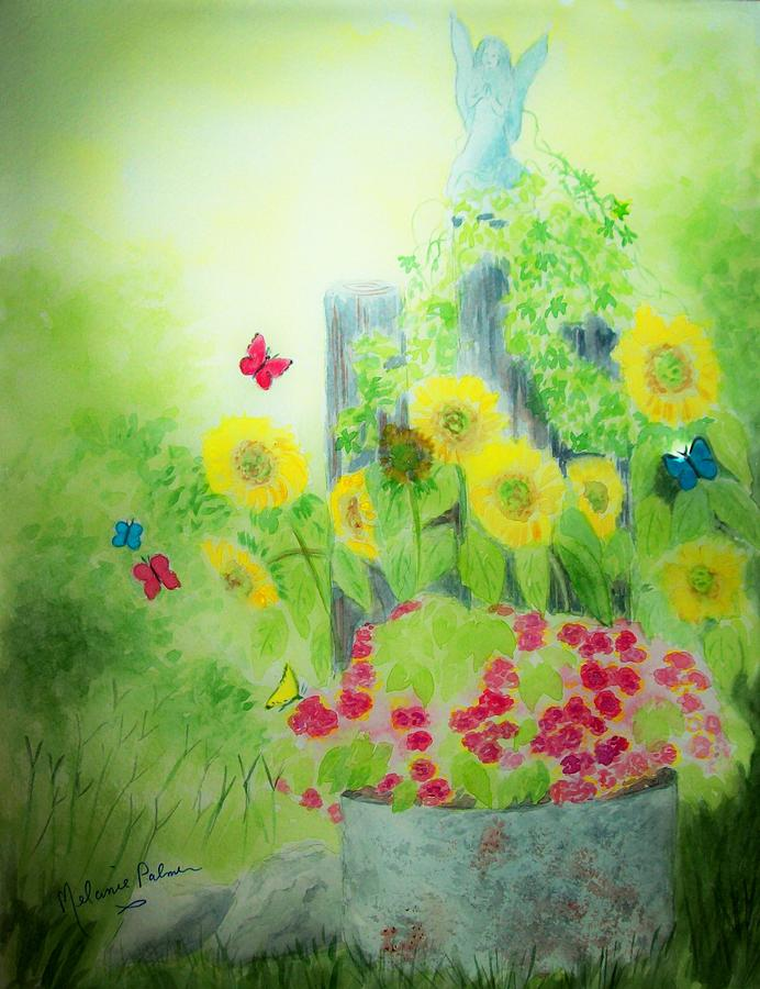 Angel Painting - Angel With Butterflies And Sunflowers by Melanie Palmer