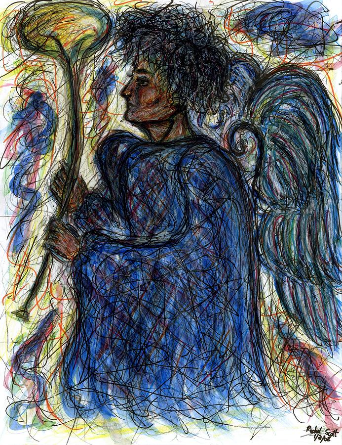 Angel Drawing - Angel With Horn by Rachel Scott
