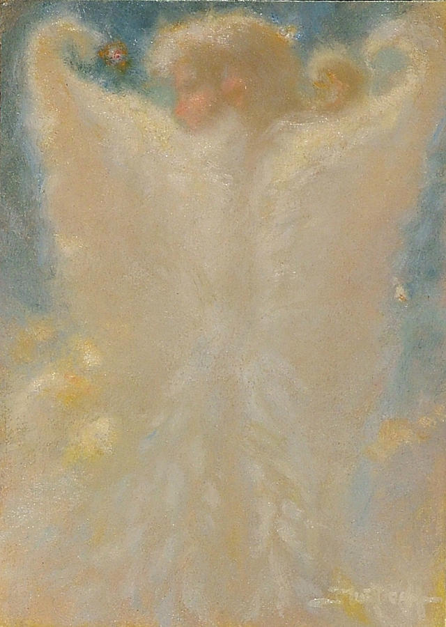 Angel Painting - Angel With Wings From Behind by John Murdoch