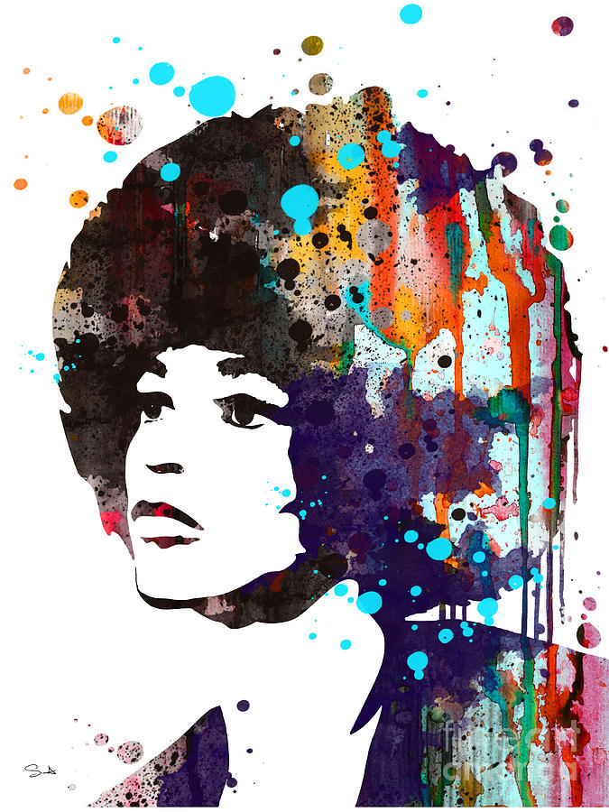 Illustration Painting - Angela Davis by Watercolor Girl
