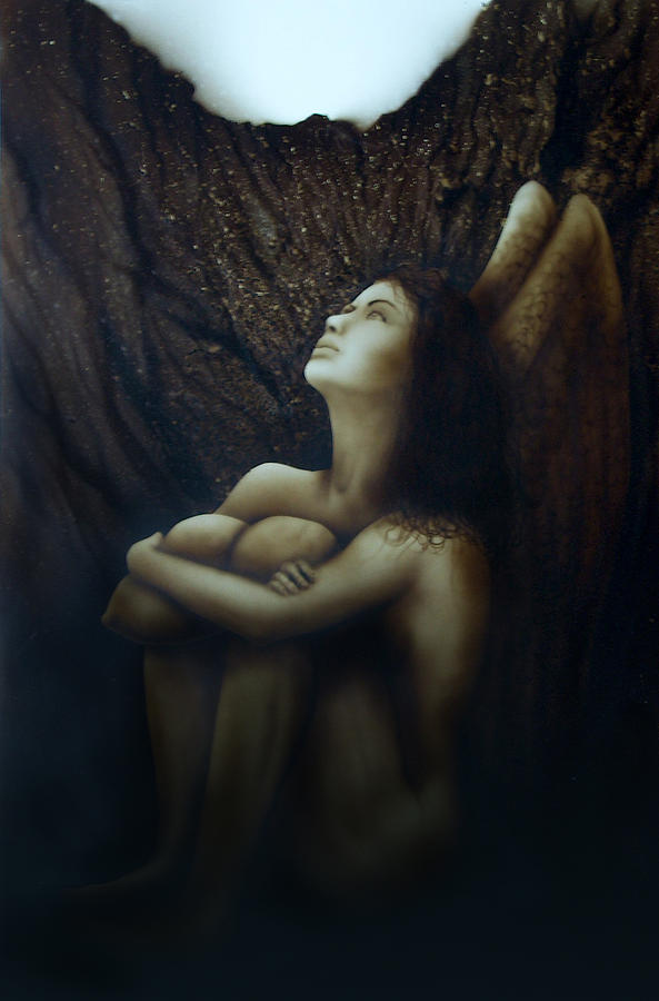 Angel Painting - Angelcaido by Moises Hergueta