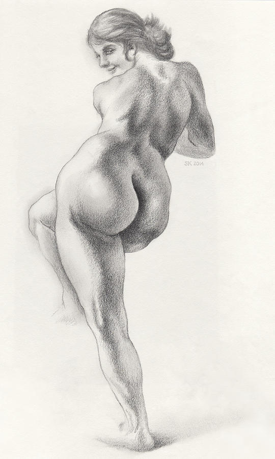 Nude Drawing - Angelina In 5b Standing Nude Leaning Onto An Art-studio Pedestal Laughing Softly by Scott Kirkman