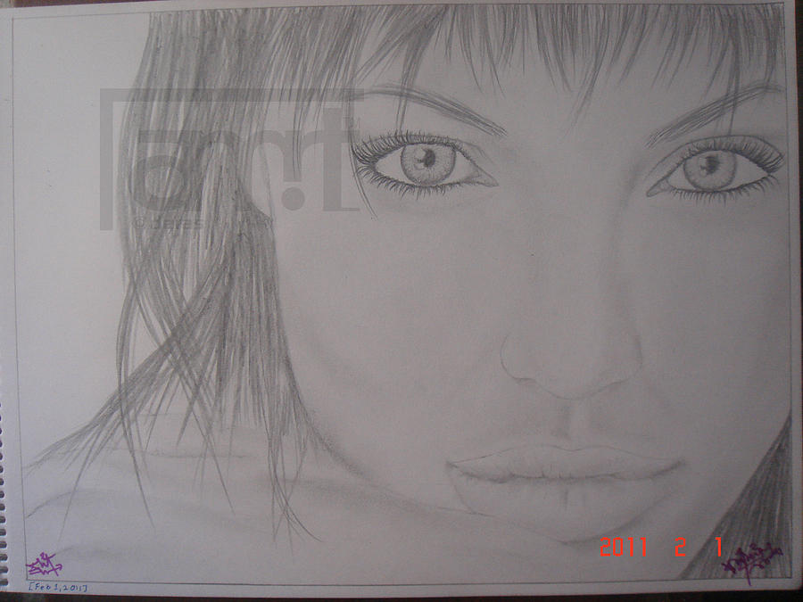 Angelina Jolie Drawing by Amwrit Puri