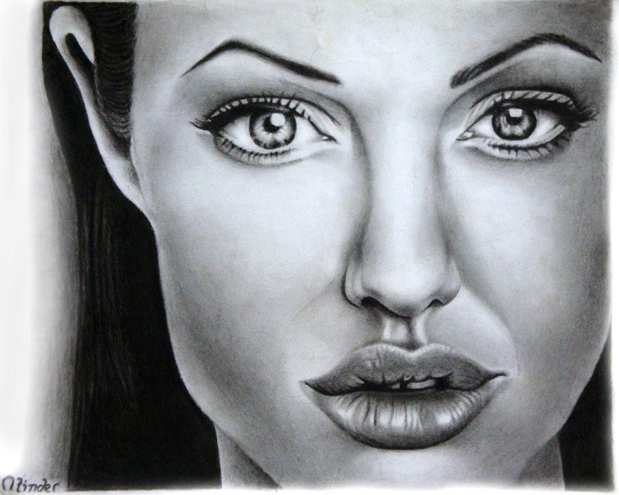 Celebrity Drawing - Angelina Jolie by Atinderpal Singh