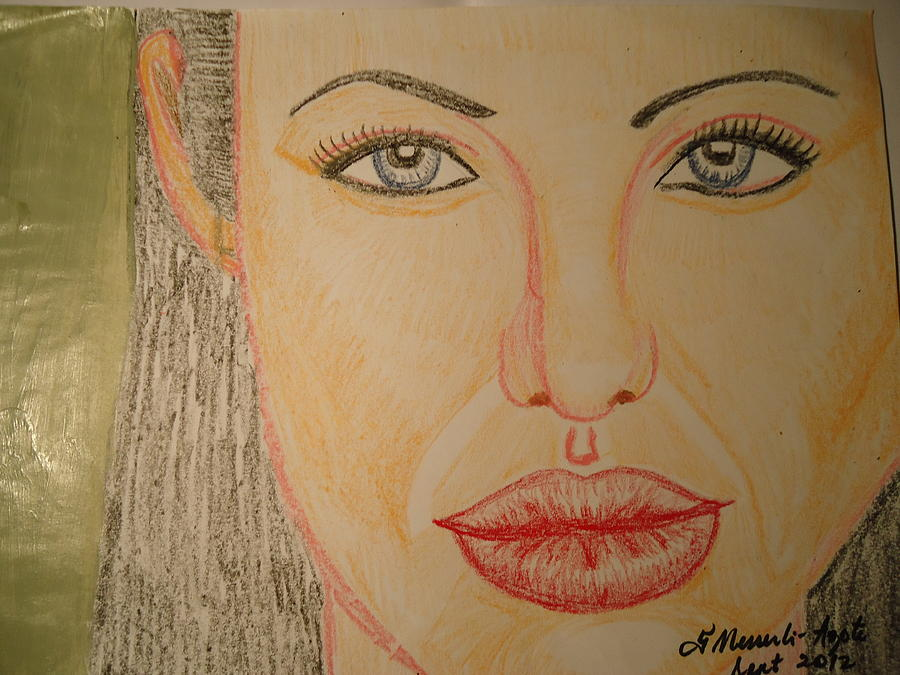 Beauty Painting - Angelina Jolie by Fladelita Messerli-