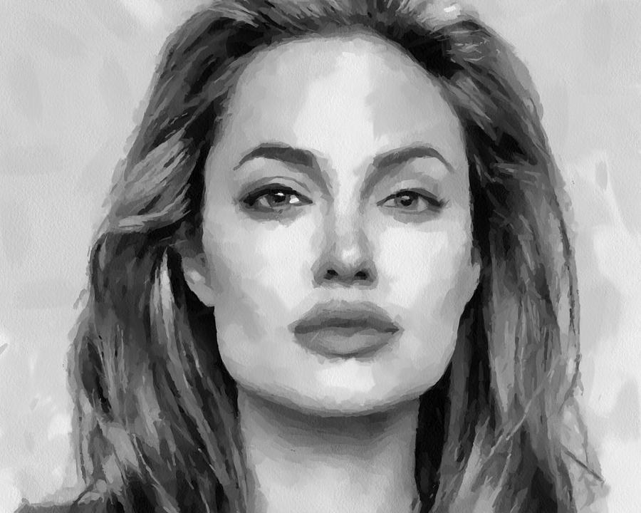 40d4cf7c9eb1 Angelina Jolie Black And White Painting by Georgi Dimitrov