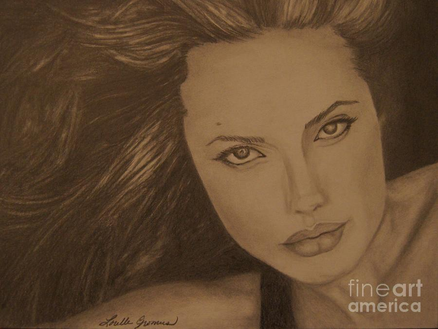 Graphite Drawing - Angelina Jolie by Lorelle Gromus
