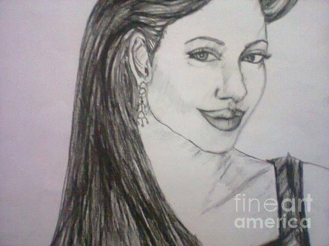 Portrait Drawing - Angelina  by Vandana Vitika
