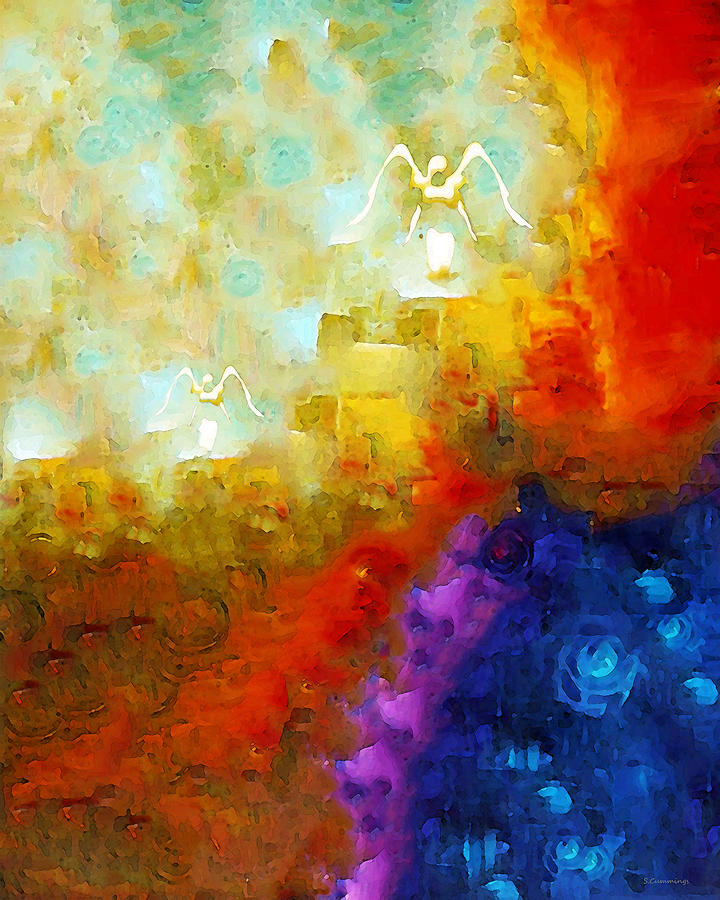 Angel Painting - Angels Among Us - Emotive Spiritual Healing Art by Sharon Cummings