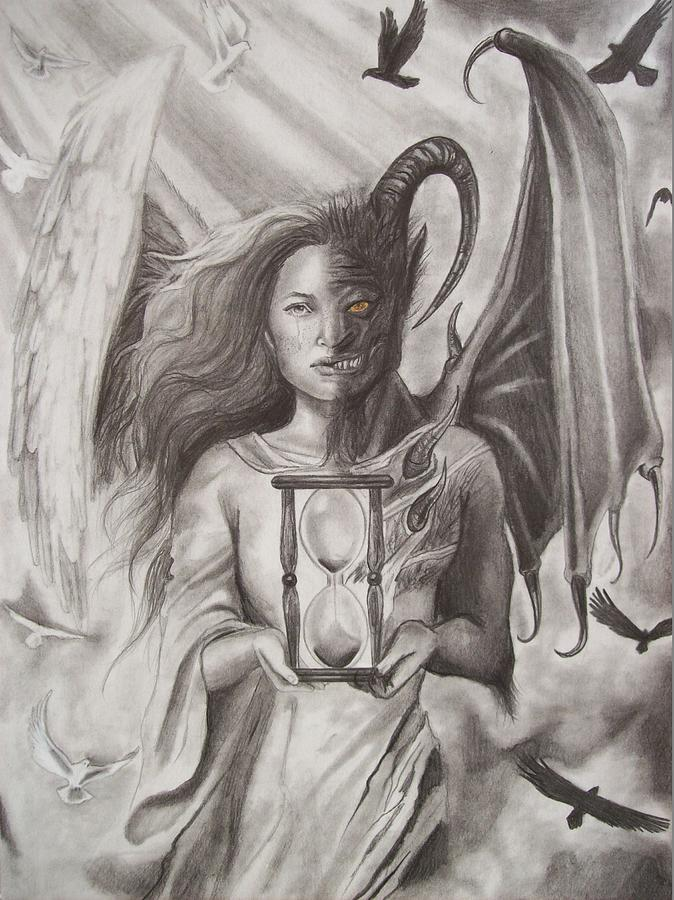 angels and demons drawing by amber stanford