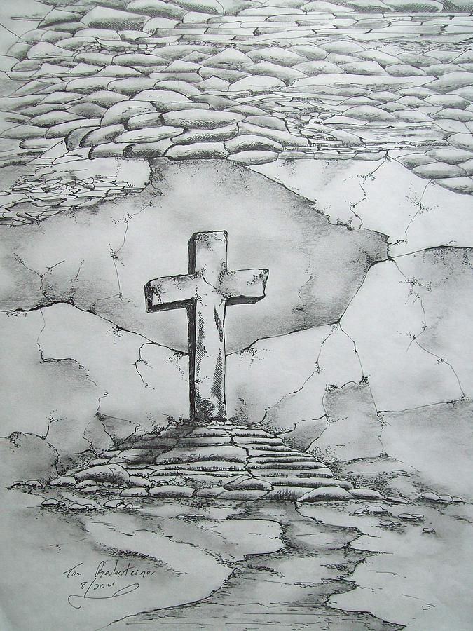 Cross Drawing - Angels Are Here by Tom Rechsteiner