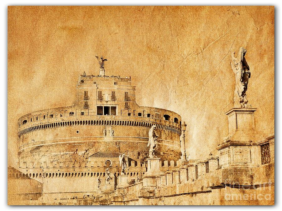 Grunge Photograph - Angels Bridge and Castle by Stefano Senise