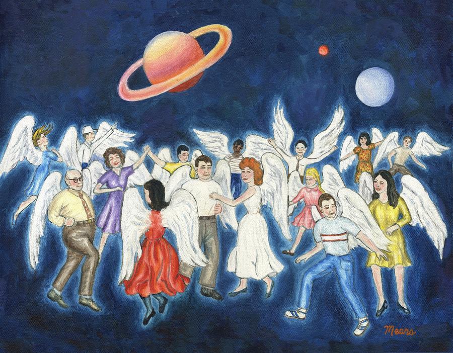 Folk Art Angel Painting - Angels Dancing by Linda Mears