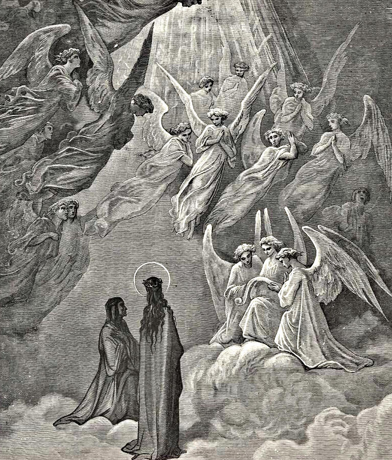Angels In Heaven Dante's Divine Comedy Illustration Drawing by