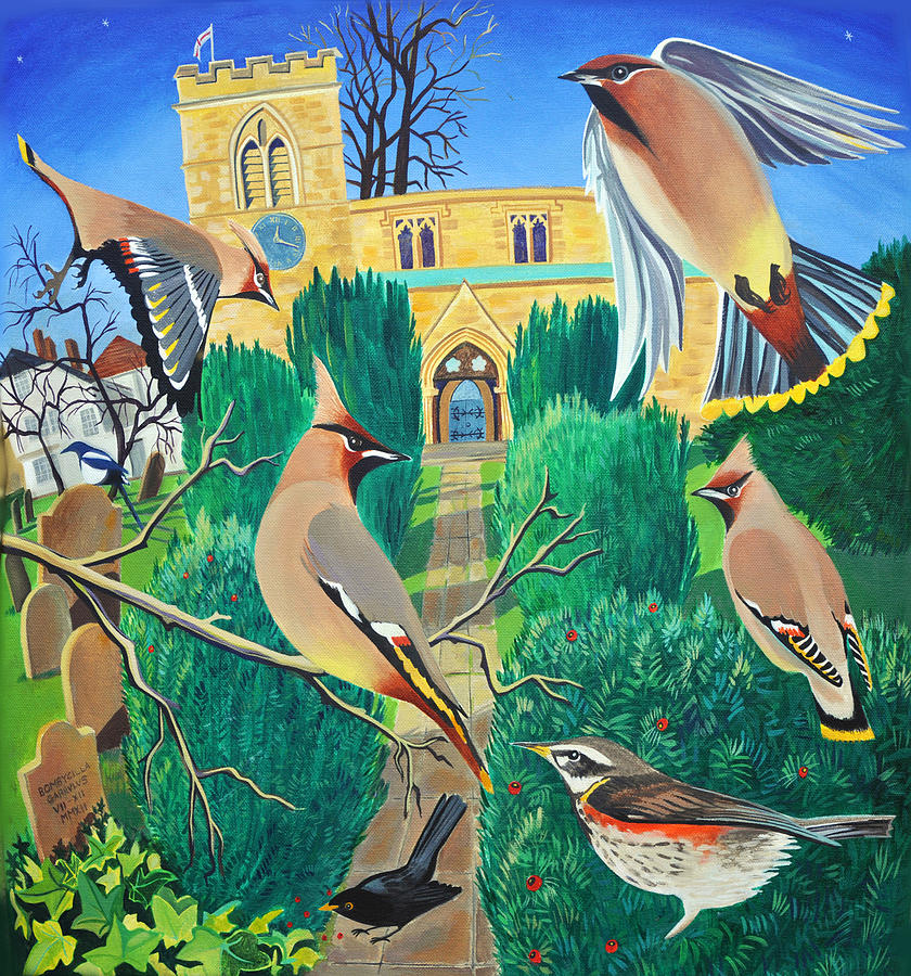 Waxwings Painting - Angels in St Giles by Jane Tomlinson