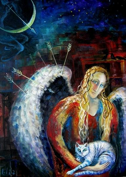 Protect Painting - Angels Of Zodiac. Sagittarius The Archer Centaur by Elisheva Nesis