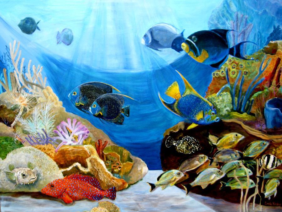 Coral Reef Painting - Angels On The Reef by Linda Kegley
