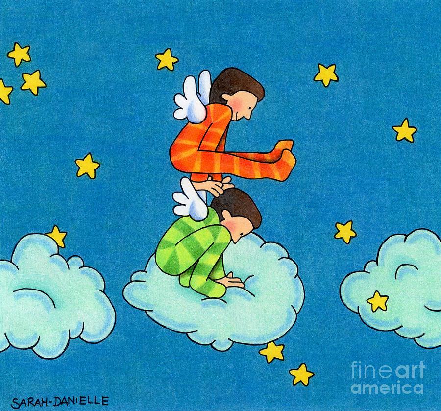 Angels Drawing - Angels Play by Sarah Batalka