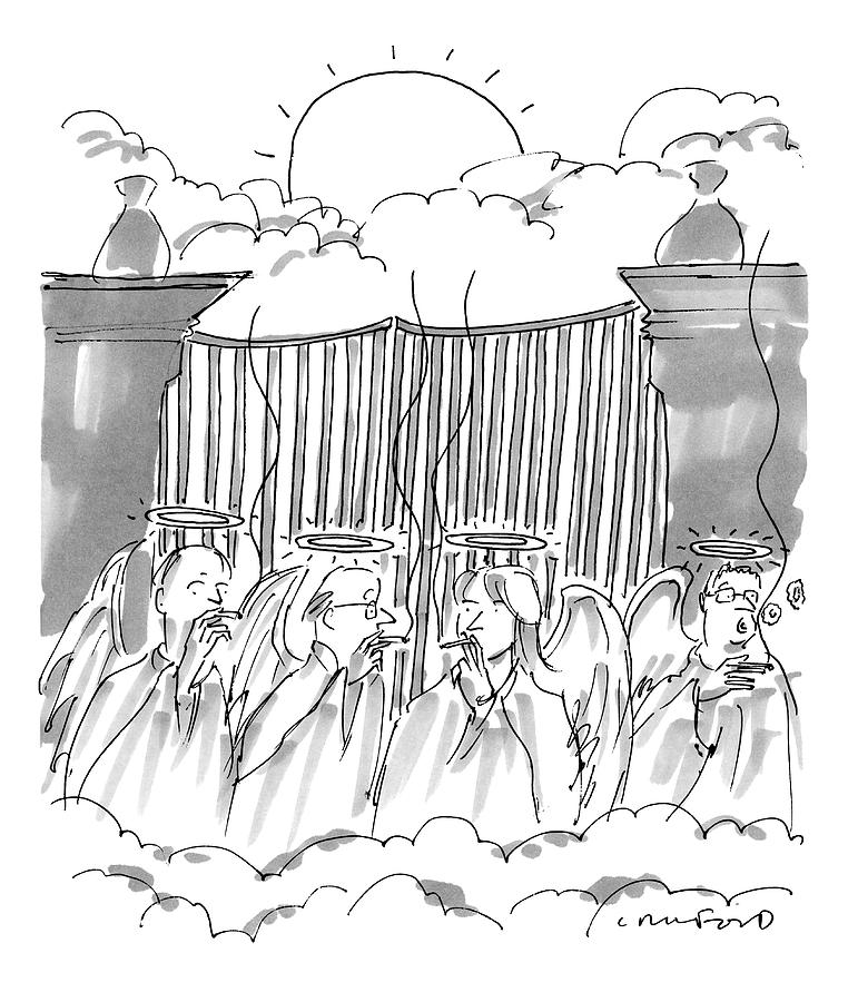 Angels Smoking Outside Of The Gates Of Heaven Drawing by Michael Crawford