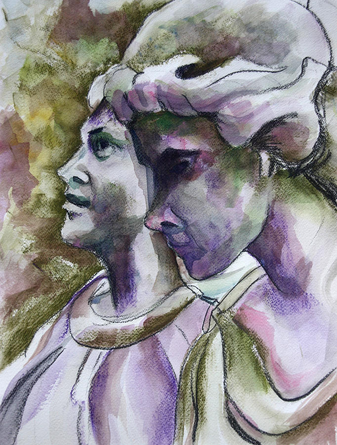 Angels Painting - Angels Watching Over by Janet Felts